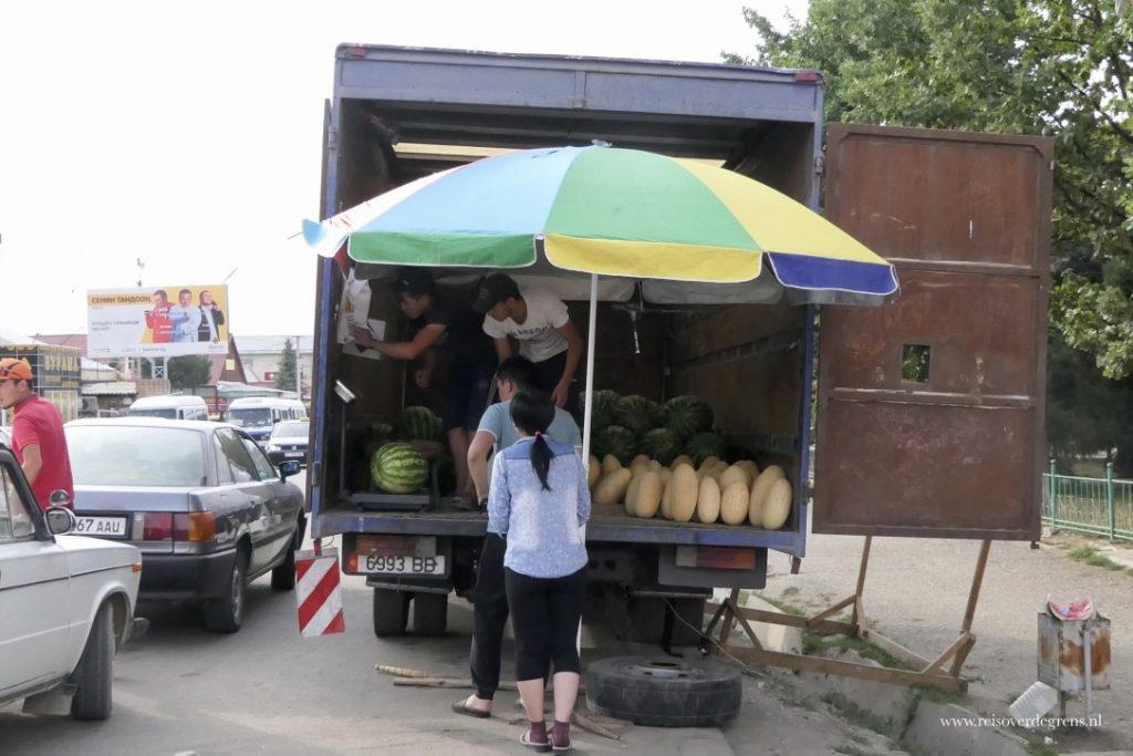 Meloenenverkoper in Karakol